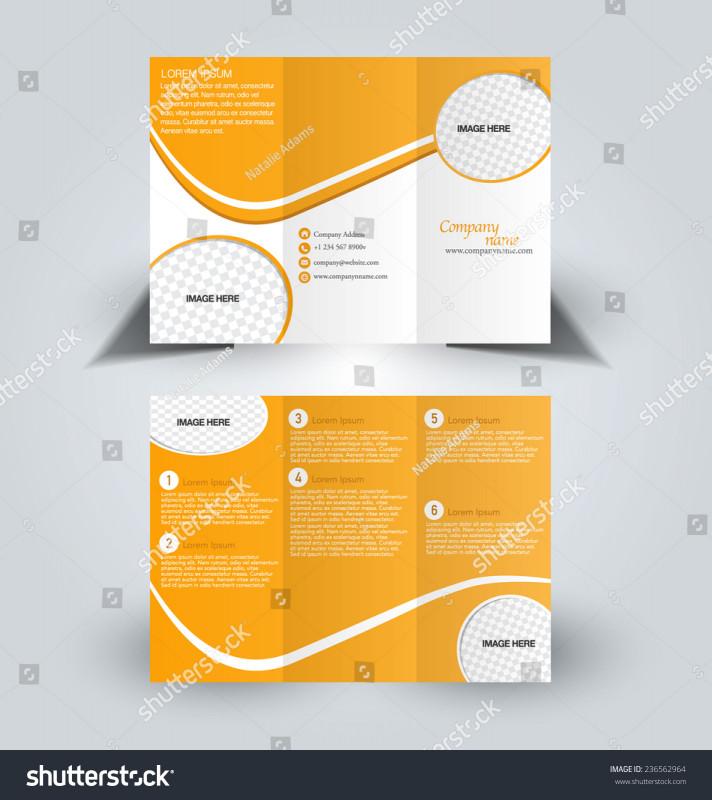 Quad Fold Brochure Template Best Trifold Business Brochure Leaflet Template Orange Stock Vector