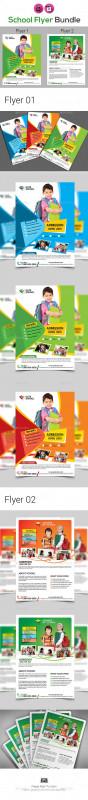 School Brochure Design Templates New Kids School Flyer Bundle By Aam360 Graphicriver
