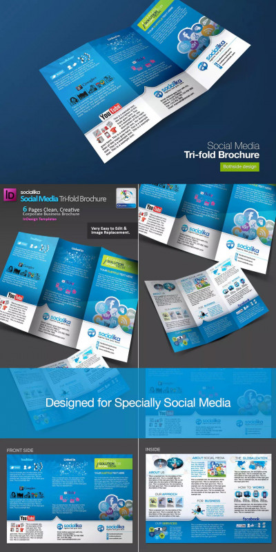Social Media Brochure Template Awesome Tri Fold Brochure Template Indesign Free Download Professional