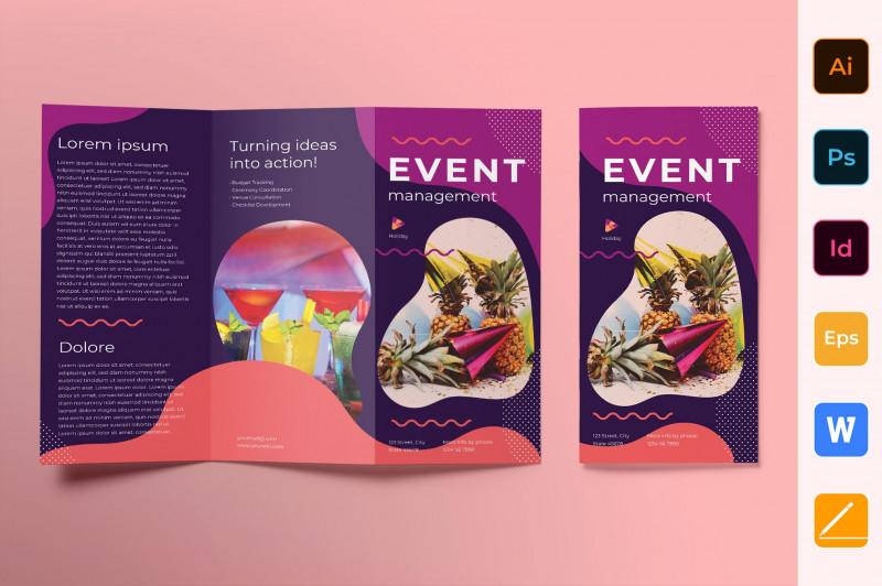 Tri Fold Brochure Ai Template Awesome Event Management Brochure Trifold Brochure Templates Creative Market