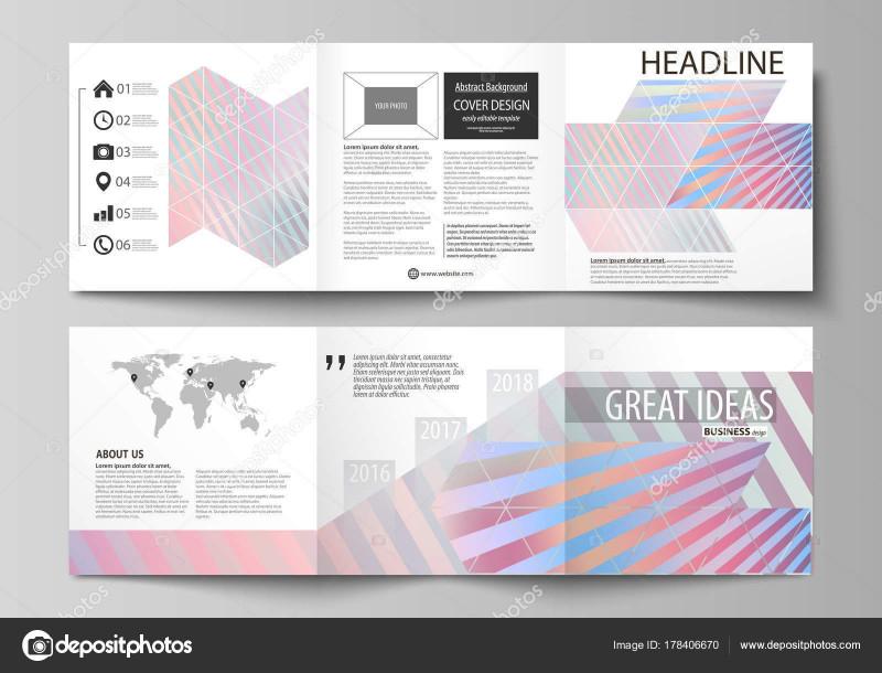 Tri Fold Brochure Template Illustrator New Set Of Business Templates For Tri Fold Square Brochures Leaflet