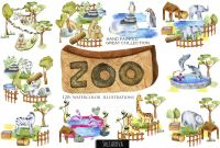 Zoo Brochure Template Awesome Zoo Big Watercolor Collection