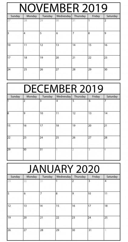 Blank Activity Calendar Template Awesome Blank November 2019 to January 2020 Calendar Printable