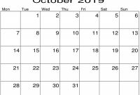 Blank Activity Calendar Template Unique October 2019 Blank Calendar Pdf Template Latest Printable