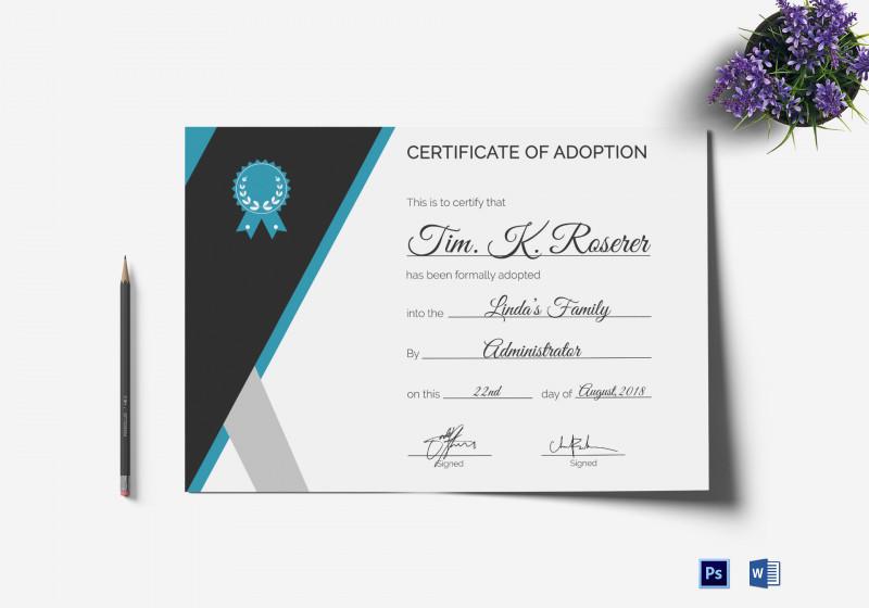 Blank Adoption Certificate Template Unique Adoption Certificate Template