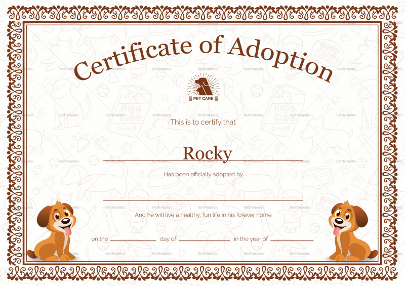 Blank Adoption Certificate Template Unique Kitten Adoption Certificate