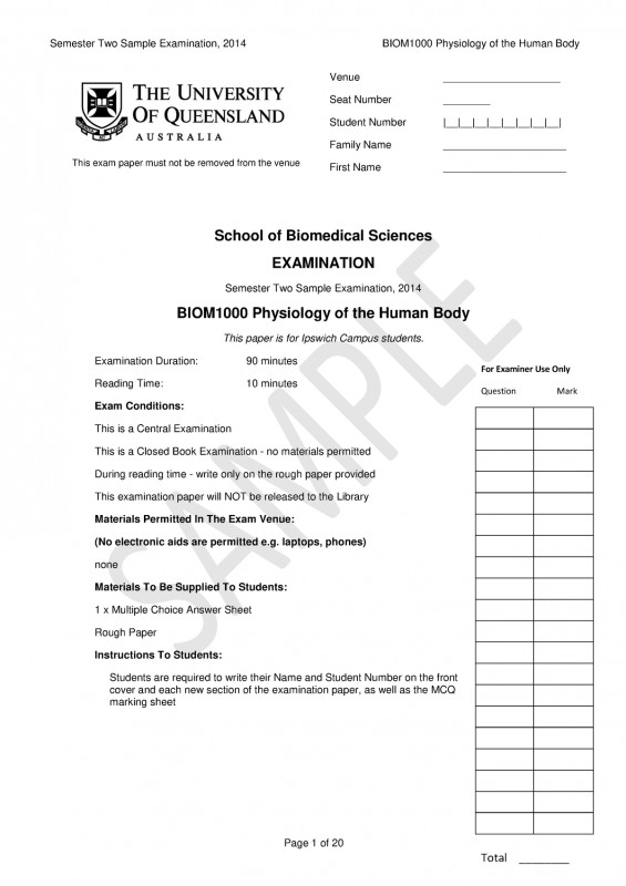Blank Answer Sheet Template 1 100 New Exam 2014 Questions Bio1203 Human Anatomy and Physiology