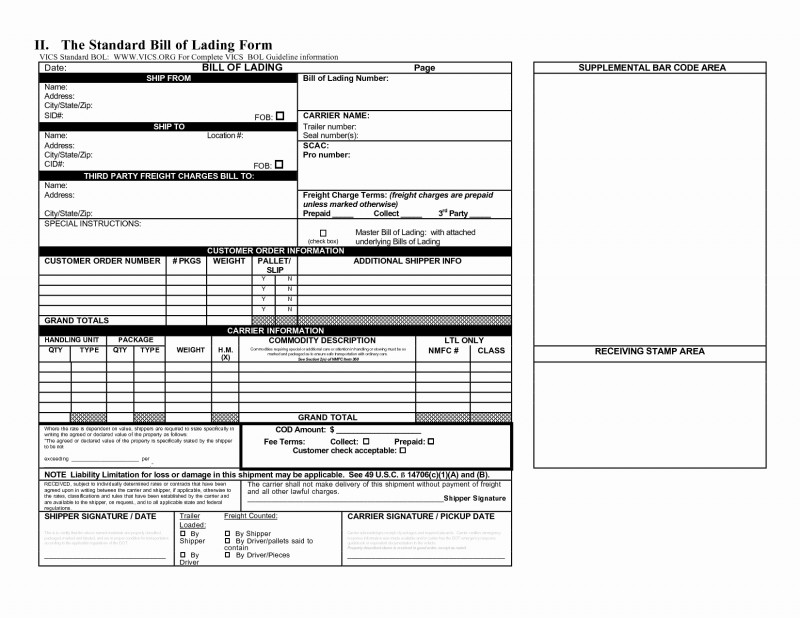 Blank Bol Template Unique Hazmat Bill Of Lading Template Lovely Free Bol Template