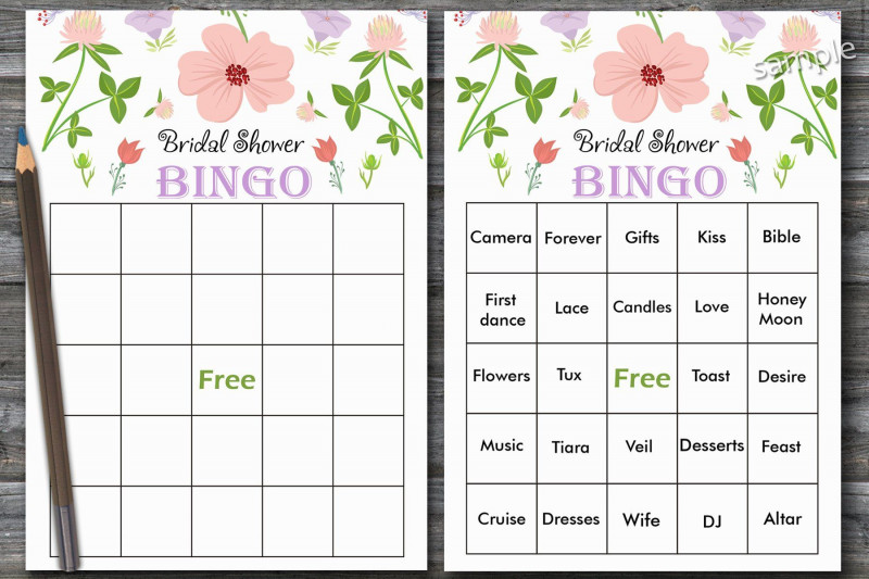 Blank Bridal Shower Bingo Template New Floral Bridal Shower Bingo Watercolor Flowers Bridal Shower