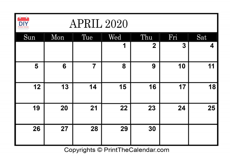 Blank Calendar Template For Kids Awesome April 2020 Printable Calendar Template