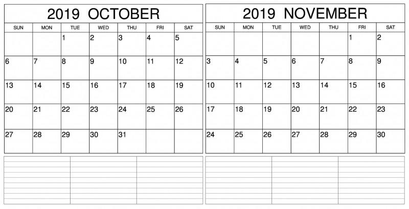 Blank Calendar Template For Kids New October November 2019 Calendar Two Month Planner Printable