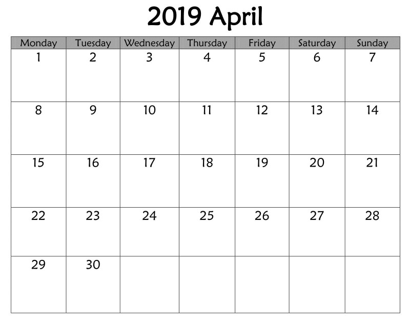 Blank Calendar Template for Kids Unique April 2019 Printable Calendar Template Celldwellertribe Com