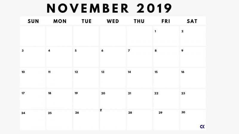 Blank Calender Template Awesome Printable November 2019 Calendar Worksheet Calendar Kart