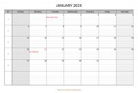 Blank Calender Template New Monthly 2019 Calendar Free Printable with Grid Lines