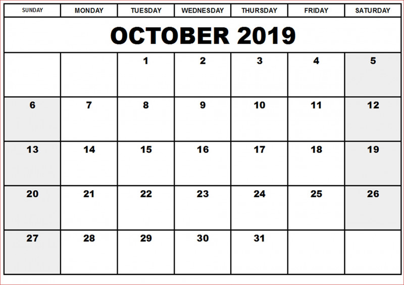 Blank Calender Template New October 2019 Calendar Template Daily Weekly Monthly