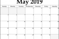 Blank Calender Template Unique Blank Calendar Template for May 2019 Free August 2019