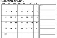 Blank Calender Template Unique Blank September 2019 Calendar Printable with Notes