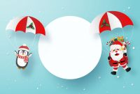 Blank Christmas Card Templates Free Unique Origami Paper Art Of Santa Claus And Penguin Card Template