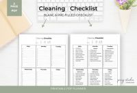 Blank Cleaning Schedule Template Awesome Cleaning Checklist Printable Cleaning List Printable