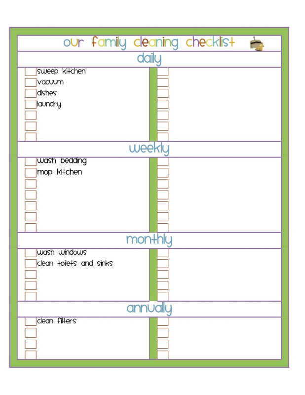 Blank Cleaning Schedule Template Unique Blank Cleaning Checklist Template Wesharepics for the