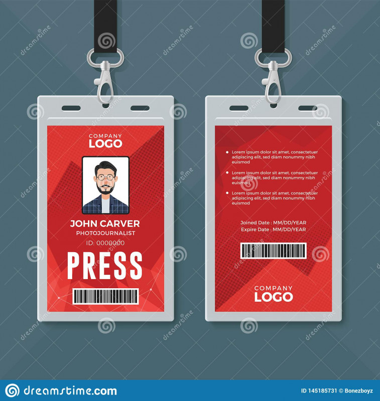 Blank Drivers License Template Awesome Press Id Card Design Template Stock Illustration