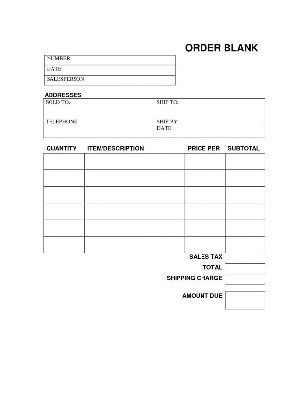 Blank Estimate Form Template Unique Free Blank Order Form Template Order Form Template Blank
