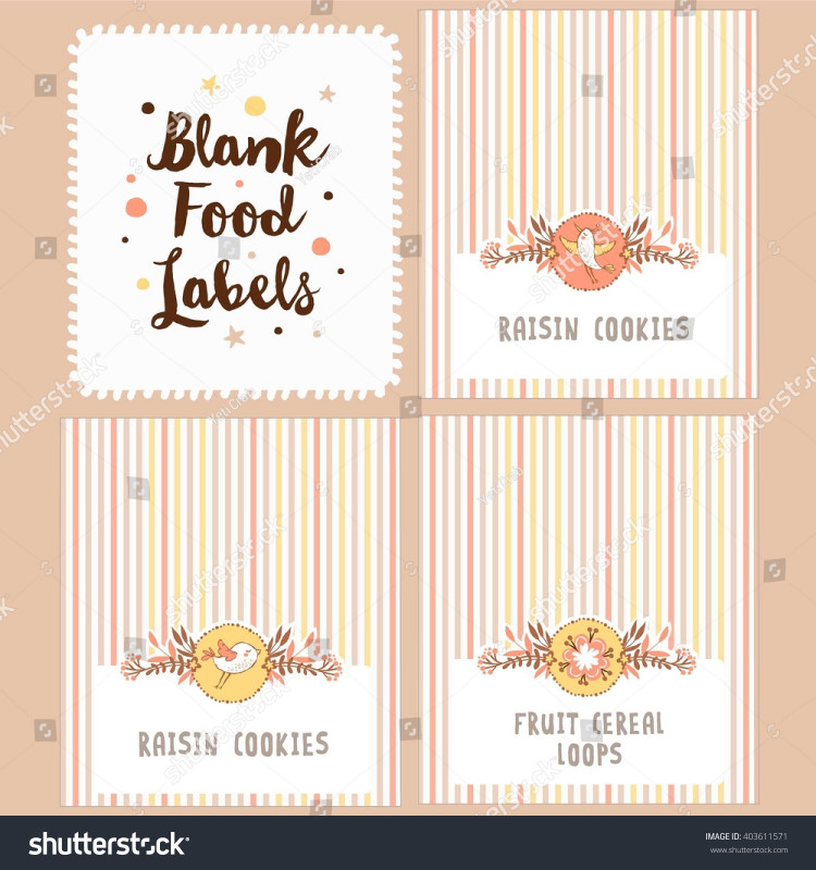 Blank Food Label Template Unique Collection Blank Food Labels Birthday Party Stock Vector