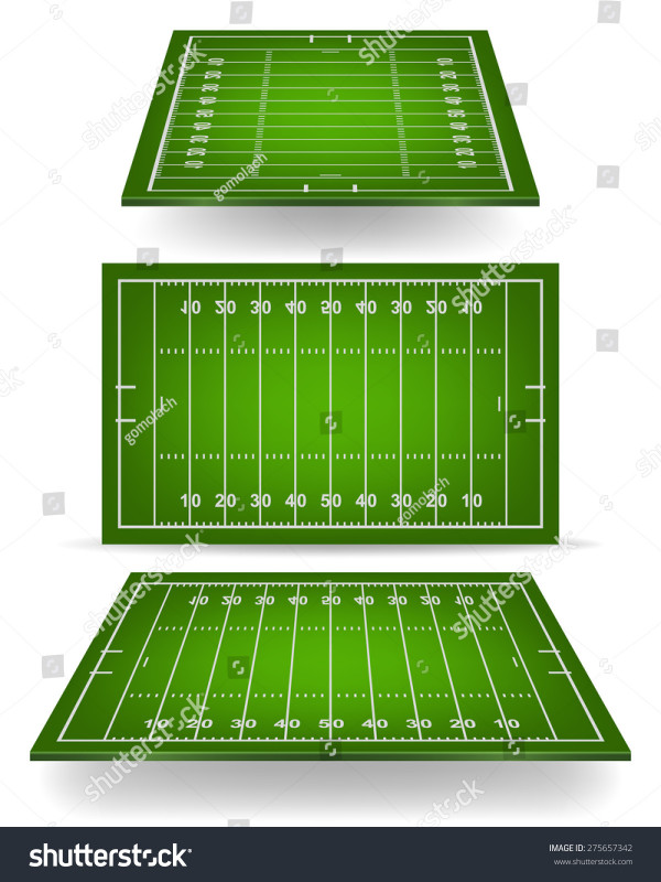 Blank Football Field Template New American Football Field Perspective Vector Eps 10 Stock