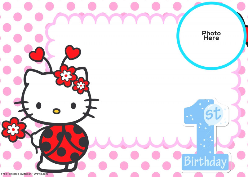 Blank Ladybug Template New Free Hello Kitty 1st Birthday Invitation Template In Ladybug
