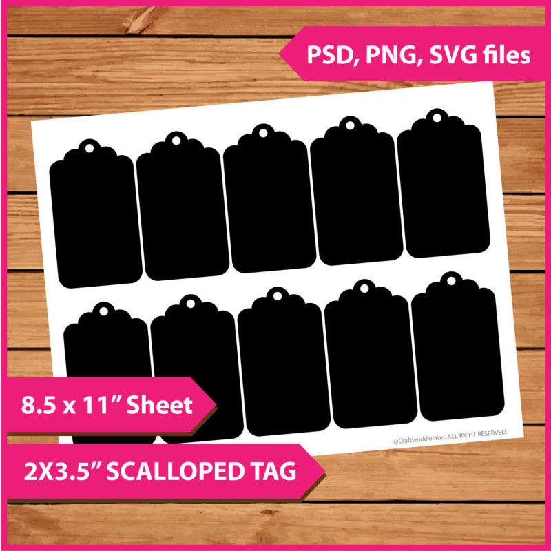Blank Luggage Tag Template Unique Scalloped Tag Template Instant Download Psd Png and Svg formats 8 5x11 Digital Diy Your Own Printable Blank Party Favors Middle Tag