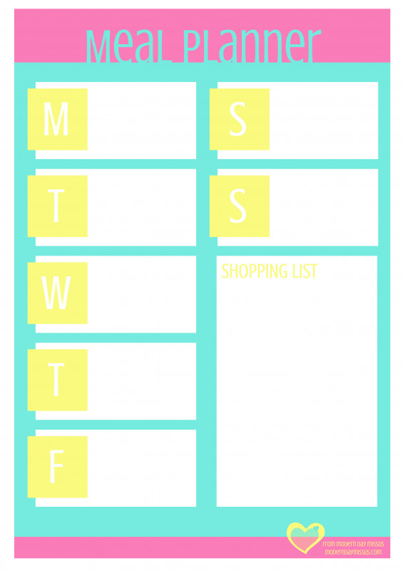 Blank Meal Plan Template Awesome Modern Day Missus Printable Meal Planner Mint Robyn