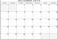 Blank Monthly Work Schedule Template New October 2019 Calendar Free Printable Monthly Calendars