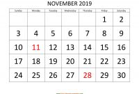 Blank One Month Calendar Template Awesome November 2019 Calendar Designed with Large Font Horizontal