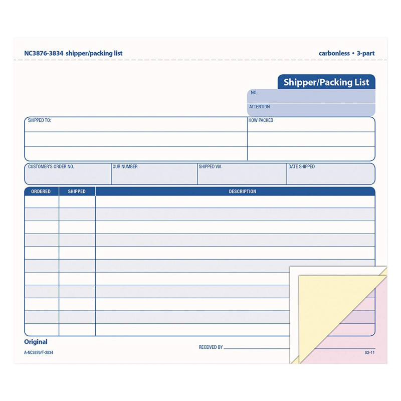 Blank Packing List Template Awesome Tops Shipper Packing List Form Triplicate Carbonless 8 5 X 7 Inches 50 Sets Per Pack 3834
