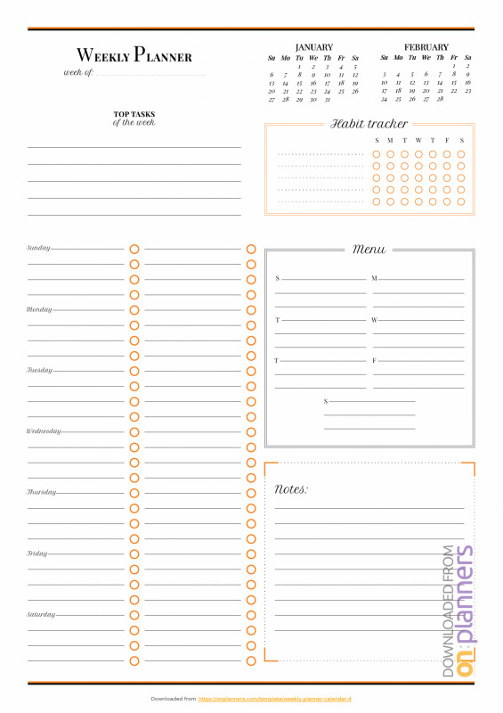 Blank Packing List Template New Download Printable Weekly Planner With Habit Tracker Pdf