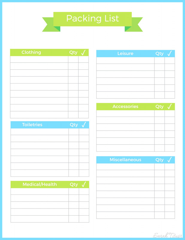 Blank Packing List Template New Packing Travel Checklist Template Inside Vacation List Word