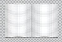 Blank Pattern Block Templates Awesome Vector Opened Realistic Squared Elementary School Copybook