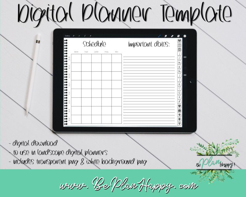 Blank Revision Timetable Template Unique Study Schedule Study Timetable Digital Planner Template Template Digital Planning Landscape View