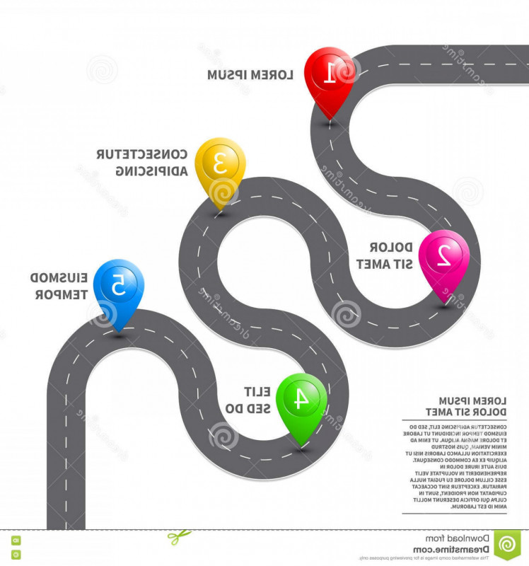 Blank Road Map Template Unique Stock Illustration Vector Pathway Road Map Gps Route Pin