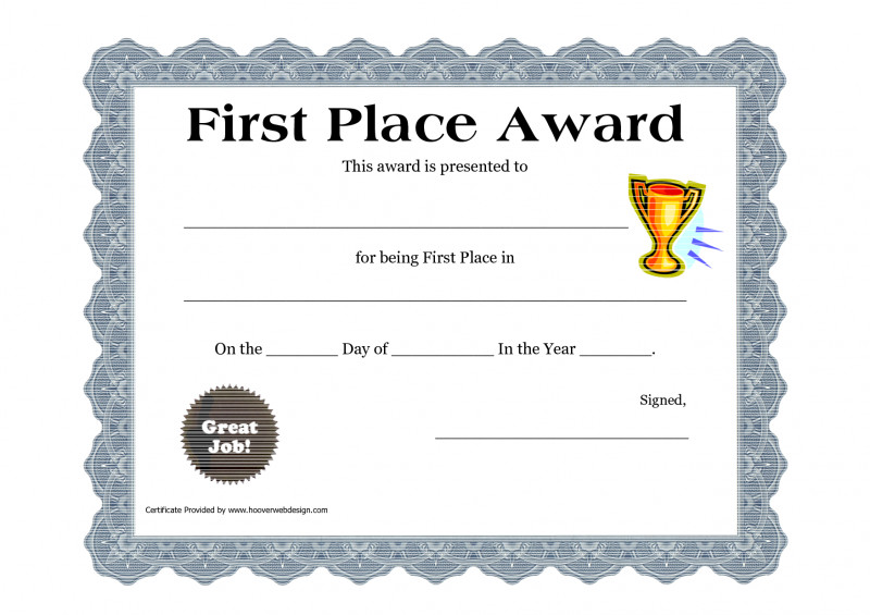 Blank Share Certificate Template Free Unique Customizable Printable Certificates First Place Award