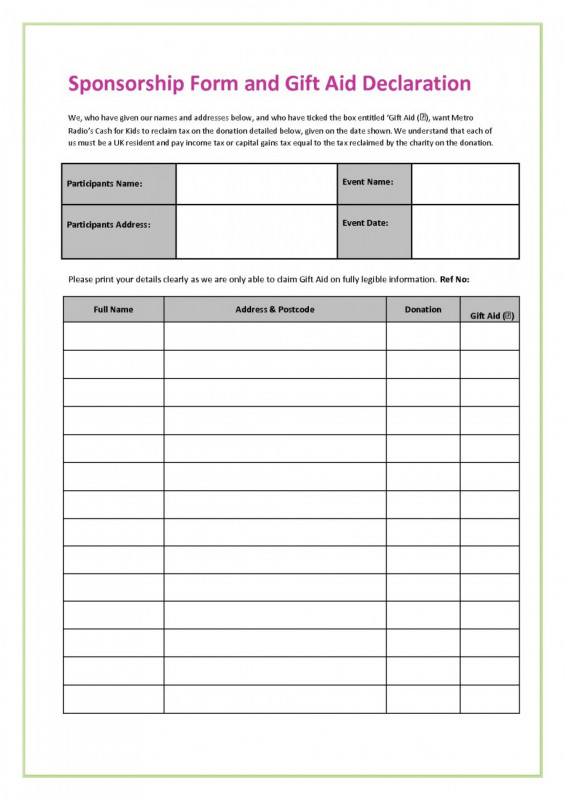 Blank Sponsor Form Template Free New 017 Fundraiser Form Template Free Ideas Order Fearsome Excel