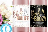 Blank Wine Label Template New Printable Bachelorette Party Wine Labels Bad and Boozy Bride and Boujee Bridesmaids Gifts Bridal Shower Favor Weekend Custom Templett