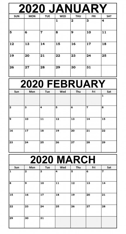 Blank Word Wall Template Free Unique January March 2020 Calendar Template Free Download 12