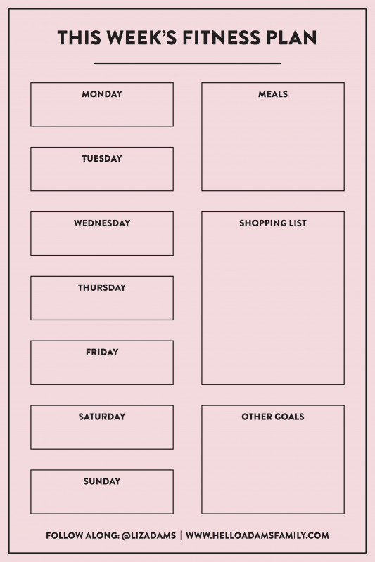 Blank Workout Schedule Template New Weekly Workout Meal Plan Hello Adams Family