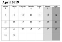 Blanks Usa Templates Awesome April Printable 2019 Editable Calendar 2019 Calendar