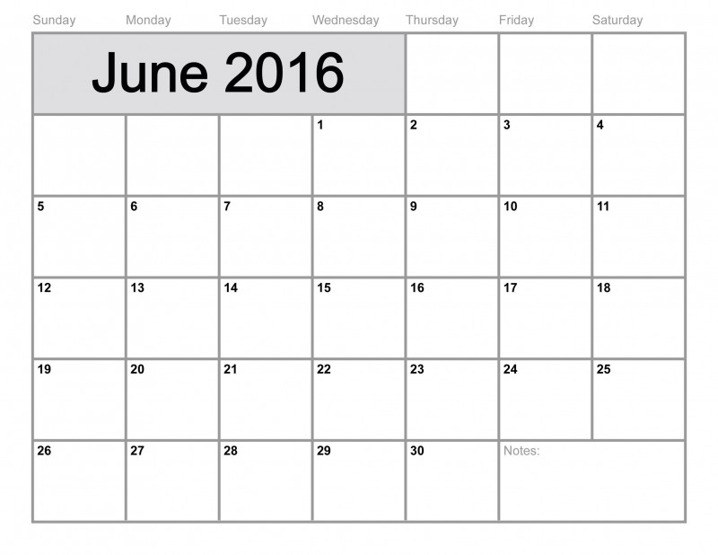 Full Page Blank Calendar Template Unique Printable Blank Calendar Template June 2016 Printable