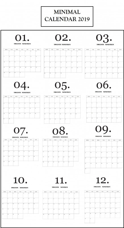 Month At A Glance Blank Calendar Template Awesome Modern Minimal 2019 Calendar Calendar 2019 Design Print