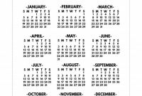 Month at A Glance Blank Calendar Template New 2020 Printable One Page Year at A Glance Calendar Paper