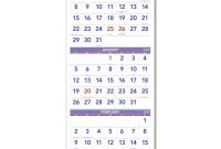 Month at A Glance Blank Calendar Template New Vertical format Three Month Reference Wall Calendar 12 X 27
