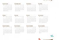 Month at A Glance Blank Calendar Template Unique Bird Yearly Calendar Mon Sun